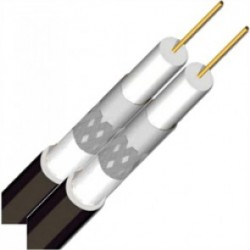 Podwójny przewód koncentryczny Rolka 250m (czarny)